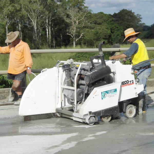 Cutting up concrete for bridge removal